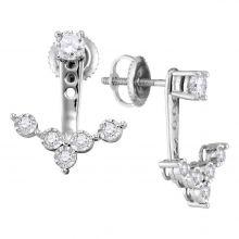 10kt White Gold Womens Round Diamond Earring Jacket Studs 5/8 Cttw