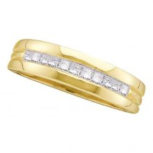14kt Yellow Gold Mens Princess Diamond Single Row Band Wedding Ring 1/2 Cttw