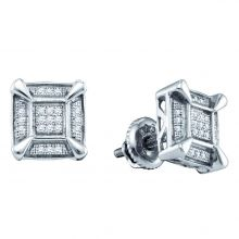 Sterling Silver Round Diamond Square Cluster Stud Earrings 1/8 Cttw