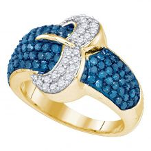 10kt Yellow Gold Womens Round Blue Color Enhanced Diamond Belt Buckle Cocktail Ring 1-3/8 Cttw