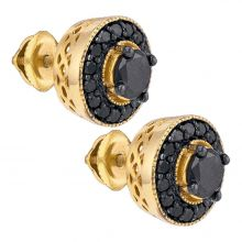 Yellow-tone Sterling Silver Mens Round Black Color Enhanced Diamond Stud Earrings 2.00 Cttw