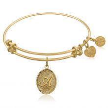 Expandable Bangle in Yellow Tone Brass with Initial A Symbol