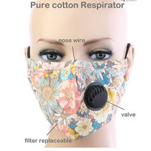 Floral Respirator Mask - Yellow Multi