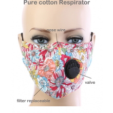 Floral Respirator Mask - Red Multi