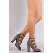 On Trend Bamboo Suede Heels - Gray