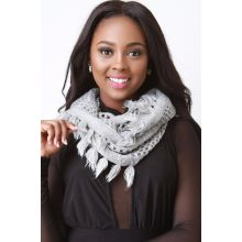 Basketweave Knit Infinity Scarf - Grey