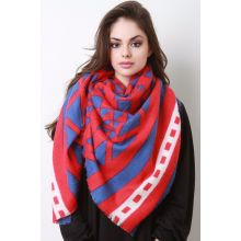 Tribal Inspired Pashmina Scarf - Red