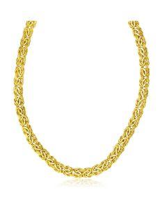 14k Yellow Gold Byzantine Design Stylish Necklace-18''