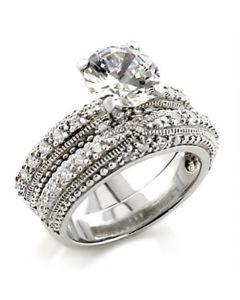 Ring Brass Rhodium AAA Grade CZ Clear