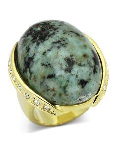 Ring Brass Gold Semi-Precious Sea Blue Turquoise
