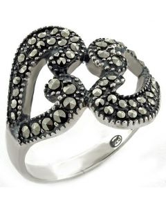 Ring 925 Sterling Silver High-Polished Synthetic Jet Marcasite