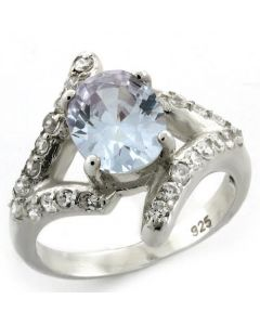 Ring 925 Sterling Silver High-Polished AAA Grade CZ Light Amethyst