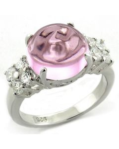 Ring 925 Sterling Silver High-Polished Synthetic Light Rose Acrylic