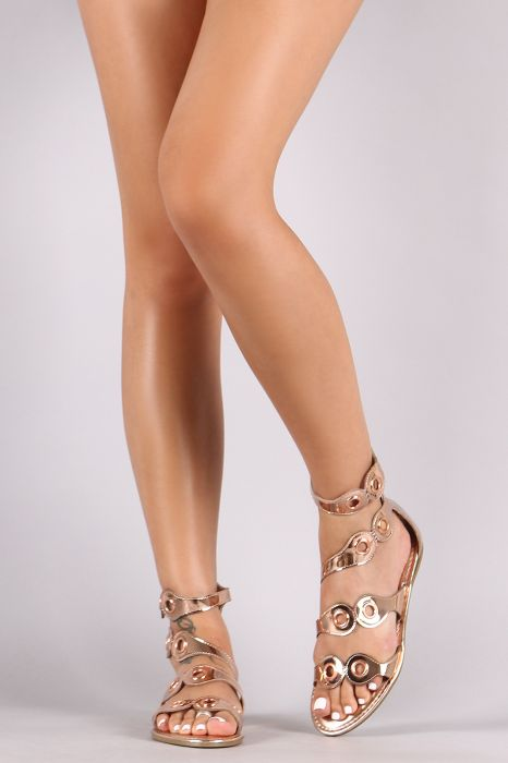 afdc7c248 Bamboo Metallic Patent Strappy Grommets Embellished Flat Sandal