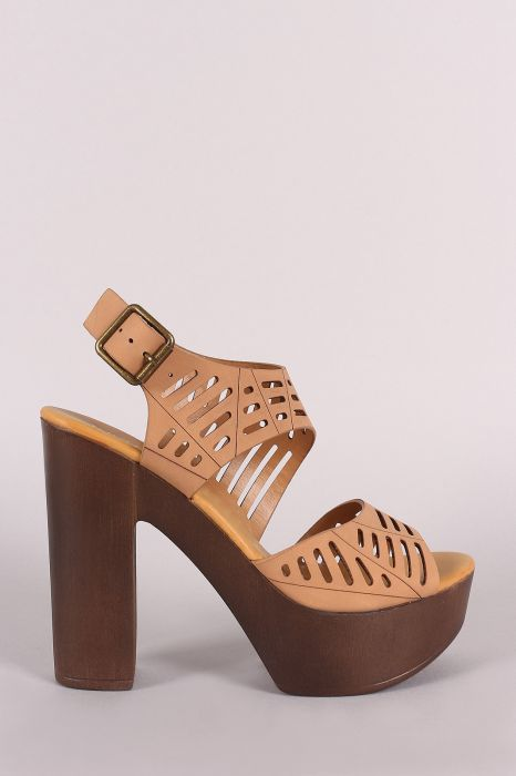 47c985c1aeb Bamboo Nubuck Cutout Ankle Strap Platform Chunky Heel